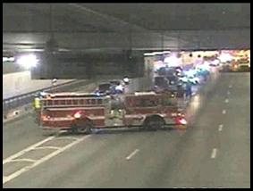 Traffic in the Tip O'Neill Tunnel was halted while crews worked to clear a 15-car pileup.